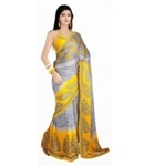 Casual Wear Yellow Grey Colored Chiffon Saree