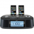 Hi-Fi Dual Alarm Clock Radio With Dual Dock For iPod/iPhone And NOAA/S.A.M.E Weather Hazard Alert