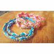 Ribbon and rhinestone braided double wrap bracelet
