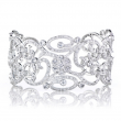 Anastasia's Fancy Filigree and Flower Faux Diamond Cuff Bracelet