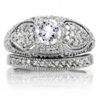 Vanora's CZ Antique Wedding Ring Set - Size 9