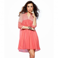 Casual Wear Peach Color Net ...